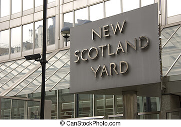 New Scotland Yard - Sign outside New Scotland Yard the...