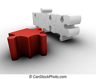 Puzzle pieces - 3D render of puzzle pieces