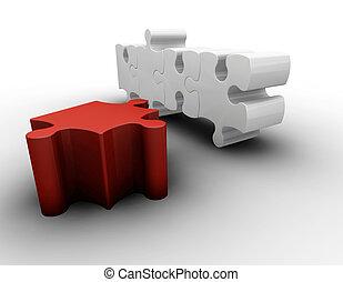 Puzzle pieces - 3D render of puzzle pieces