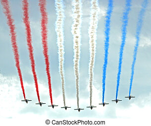 Up in French smoke - The red, white and blue colours of the...