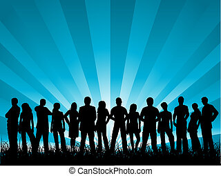 Group of friends - Silhouette of a large group of people