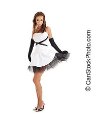 lady in black and white dress - classical pin-up image of...