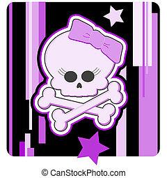 Girly Skull & Crossbones Illustration - Cartoon illustration...