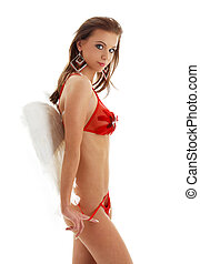 girl in red lingerie with angel wings - lovely girl in red...