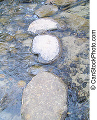 Stepping stones - Stones placed in a shallow flowing creek...