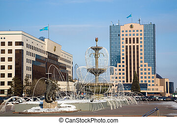 Government buildings and fountains.