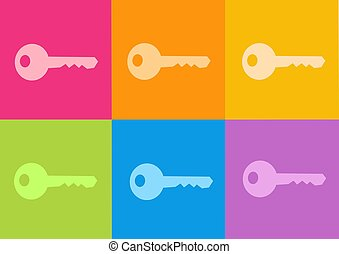 key icon set - computer generated clipart