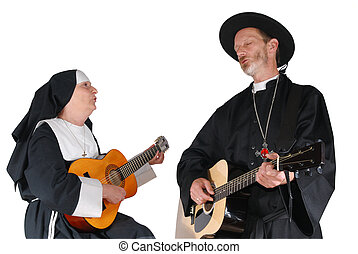 Nun and priest playing the guitar - Middle aged nun and...