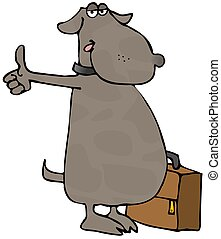 Hitchhiking Dog - This illustration depicts a dog...