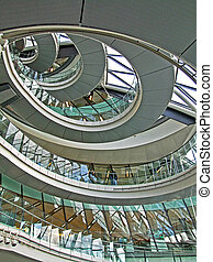 Circular stairway made from metal and glass