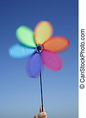 Pinwheel in motion on  windy day