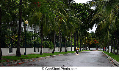 Storm in Key West - A motorcycle ride on a stormy street in...