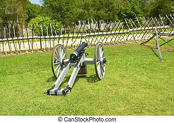 Civil War Cannon Behind Wooden Spiked Baracade