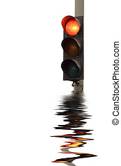 Red Traffic lights - series: isolated on white: light signal...