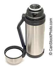 thermos - series object on white - thermos and cup