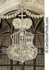 Czech Bone Church - Human bones (skulls, femurs, hips, etc)...