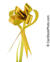 gold heart bow - A metalic gold ribbon arranged into a heart...