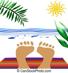 beach blanket feet - feet sunbathe on beach towel with ocean...