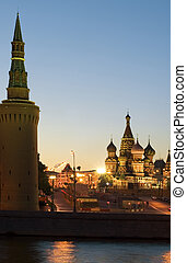 Night red square - Russia Moscow Night red square and...