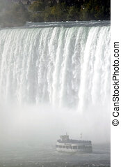 Maid of the Mist under the Horseshoe Falls (Canadian Falls)...
