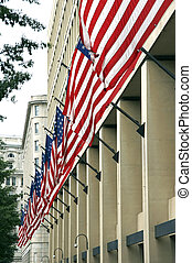 fbi with flags - J. Edgar Hoover FBI Building, Washington...