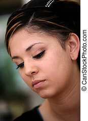 Sad mexican girl - Close-up portrait of a sad teen girl