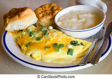 Omelet - Cheese Omelet Breakfast with Onions and Hollandaise...
