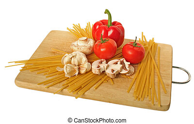 Pasta 5 - Fetuccini and ingredients on a cutting board