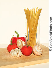 Pasta 8 - Fetuccini and ingredients on a cutting board