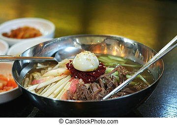 Korean noodles - Traditional Korean cuisine dish of cold...