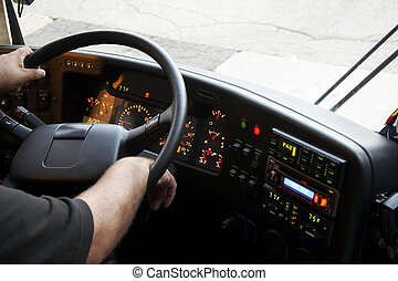 dashboard bus driver - dashboard of a bus with the arms of...