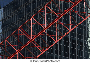 red construktion cran in front of office building R03 - red...
