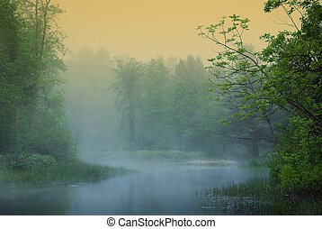 Mystical - morning misty riverwith orange and blue hues