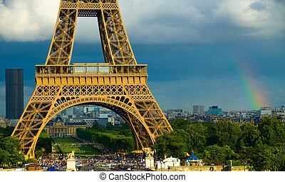Lucky tower - Eiffel Tower in Paris with a rainbow