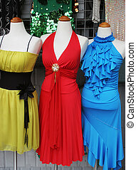 Evening gowns. - Mannequins wearing beautiful evening...