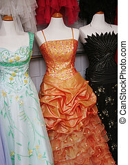 Glamor dresses. - Mannequins wearing beautiful evening...