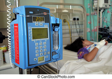 Intensive Care - Young girl resting in a hospital icu