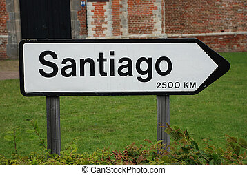 Sign 2500 km - A roadsign to Santiago, 2500 km from here
