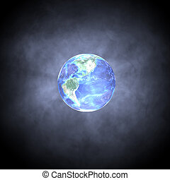 Earth Glow - 01 - A glass-like globe of planet Earth, lit...