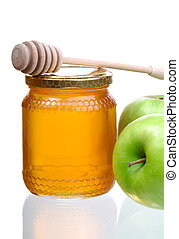 Honey And Apples - Jar Of Honey, Green Apples And A Wooden...