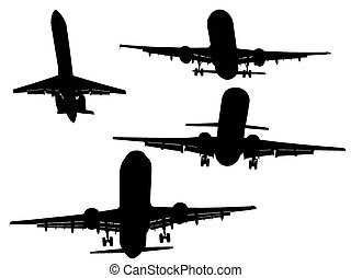 Aircraft Silhouettes 1 - Set of 4 Mixed Aircraft Silhouettes