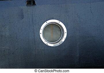 Porthole - A ships porthole, with cloudy glass