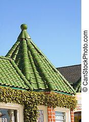 tile roof on small pagoda - tile roof on small octagonal...