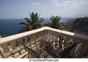 villa hotel deck patio over sea taormina sicily - sicily...