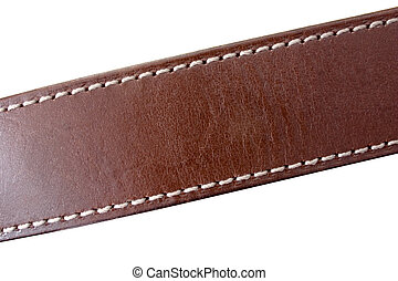 Leather Belt - a stitched leather belt on white