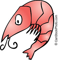 Cute shrimp - Shrimp Cute friendly cartoon marine creature...