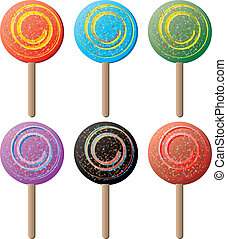 lollipop round - Illustration of six color variations of...