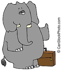 Elephant Hitchhiker - This illustration depicts an elephant...
