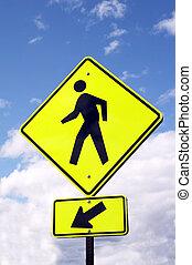 sign - WATCH PEDESTRIANS - light yellow sign - WATCH...