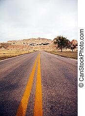 Road in Badlands National Park - Badlands National Park,...